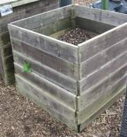 A simple homemade compost bin. Click picture to enlarge. Copyright David Marks.