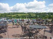 Outdoor seating at Dobbies Sandyholm cafe with spectacular views