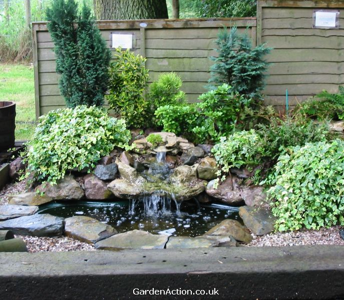 Backyard water features casual cottage for Garden pond water features