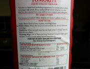 Label on liquid tomato fertiliser
